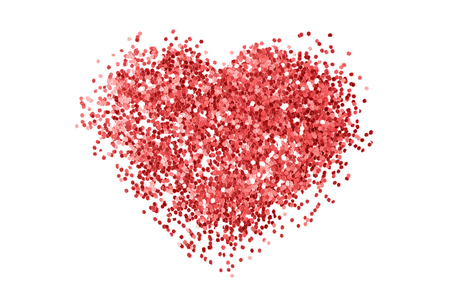 Red glitter sequins texture isolated on white background. Heart shape. Abstract background.