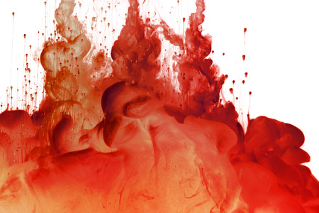 Acrylic red colors in water. Ink blot. Abstract background.