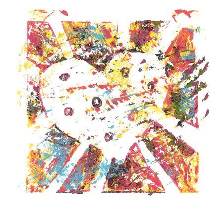 Peinture acrylique et aquarelle de couleur abstraite. Modèle de monoimpression. Fond de texture de toile. Icône de coeur brisé.