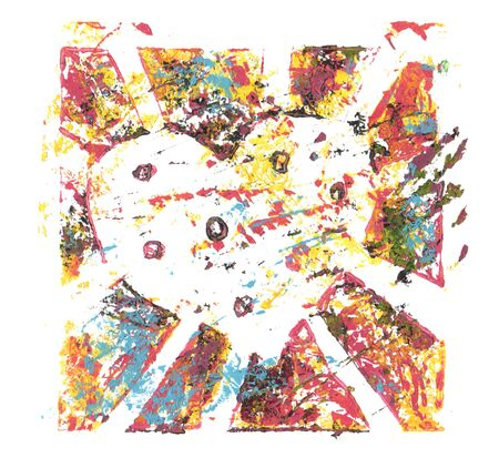 Pintura acrílica y acuarela de color abstracto. Plantilla de monoimpresión. Fondo de textura de lona. Icono de corazón roto.