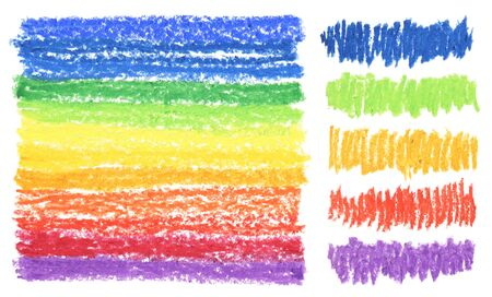 Oil color pastel strokes texture on white background. Isolated. Collection.