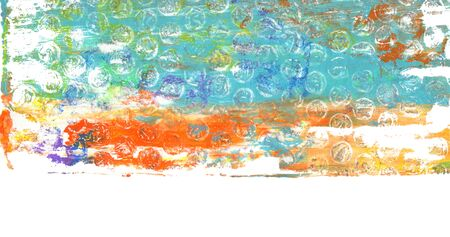 Abstract color acrylic and watercolor Monoprint painting. Monotype template. Canvas texture background. Isolated on white. Banco de Imagens