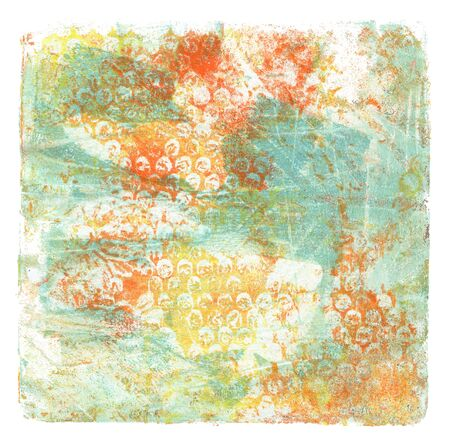 Abstract color acrylic and watercolor painting. Monotyping template. Canvas vintagecgrunge texture background. Square shape Isolated on white. Banco de Imagens