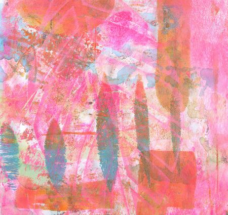 Abstract color acrylic and watercolor painting. Monotype template. Canvas texture background. 版權商用圖片