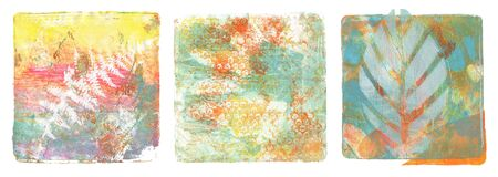 Abstract color acrylic and watercolor painting. Monotyping template. Canvas vintage grunge texture background. Square shape Isolated on white. Banco de Imagens