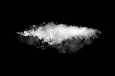 White smoke blot on Black. Abstract background.