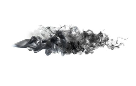 Black smoke blot on White. Abstract background.