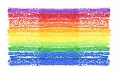 Oil pastel rainbow stroke texture on white background. Isolated.