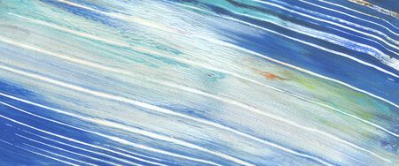 Abstract blue color line strip acrylic and watercolor painting. Monotype template. Canvas texture background. Horizontal long banner.