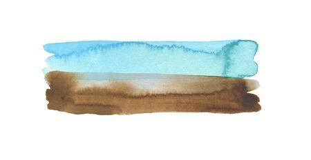 Acuarela abstracta y pintura de mancha de trazo de pincel de línea acrílica. Elemento de diseño de color. Papel de textura. Aislado sobre fondo blanco.