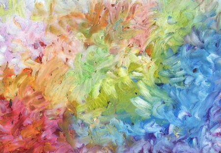 Abstract oil (wax) pastel smear painting. Canvas texture background. Horizontal banner. Stock Photo