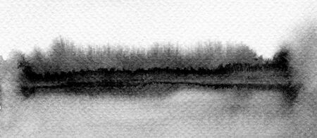 Abstract black and white watercolor blot painted background. Texture paper. Template for prints, posters, cards. Horizontal long posters, greeting cards, web site, banner, invitation.