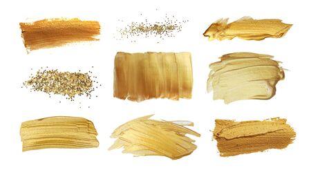 Gold (Bronze) glitzernder Farbabstrich Pinselstrich Fleck Fleck auf weißem Hintergrund. Abstrakte Lackbeschaffenheit. Sammlung.