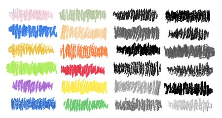 Oil pastel color smear brush strokes texture on white background. Isolated. Collection. 版權商用圖片
