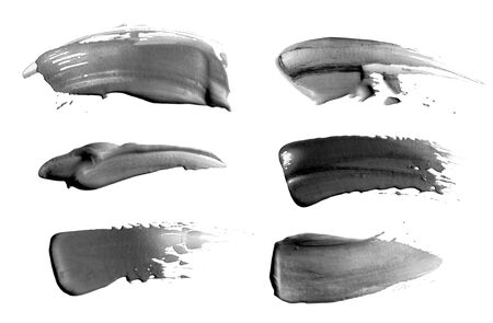 Abstract acrylic black and white brush stroke. Isolated on white. Collection.