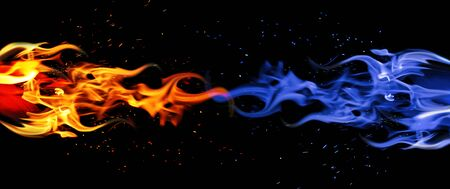 Blue and red flame. Cold and warm concept. Horizontal abstract background.