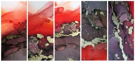 Blur Abstract painting blots background. Alcohol ink colors. Marble texture. Collection of Vertical long banner.