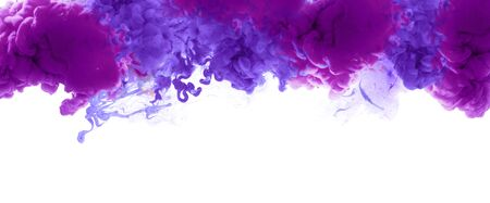 Acrylic violet lilac colors in water. Ink blot. Abstract background. Horizontal long poster, greeting cards, web site, banner, invitation.