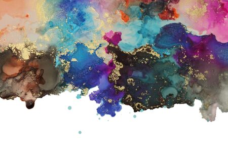 Abstract watercolor and acrylic flow blot painting. Art Color canvas marble texture horizontal background. Alcohol ink. Фото со стока