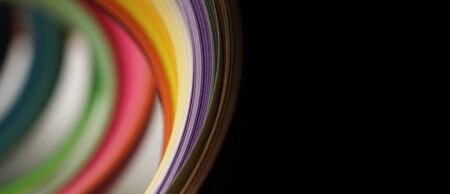 Soft focus abstract rainbow color strip wave paper long horizontal