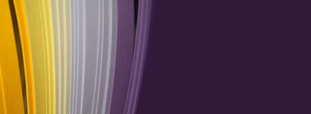 Abstract violet and yellow color strip wave paper long horizontal