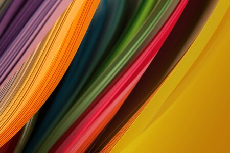 Abstract rainbow color strip wave paper Imagens