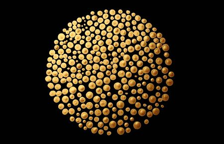 Gold (bronze) dots circle on black. Art Abstract texture background.