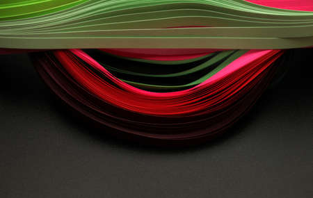 Red and green color strip wave paper. Abstract texture black horizontal background.