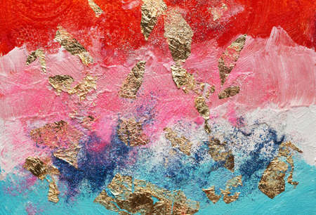 Abstract acrylic and watercolor smear blot painting with gold glitter. Color horizontal texture background.