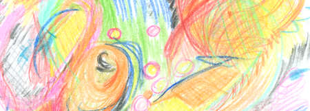 Color Pencil and crayon scribble. Abstracr horizontal long background.