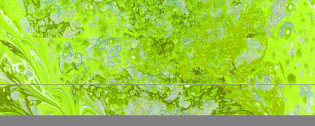 Art Abstract painting green color blots horizontal background. Ebru Marble paper texture.