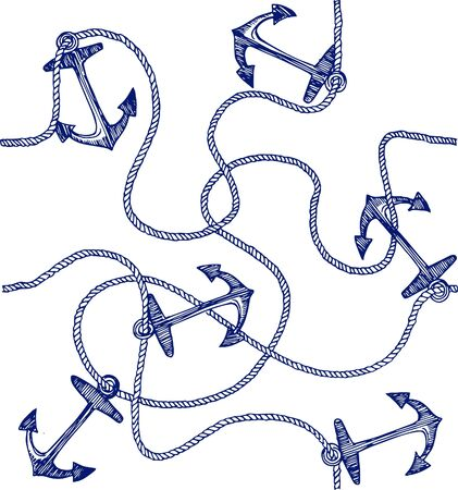 anchor drawing: anchor and rope pattern Illustration