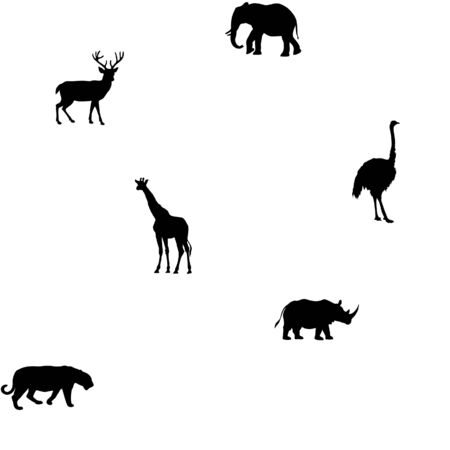 cartoon tier: cartoon animal pattern silhouette Illustration
