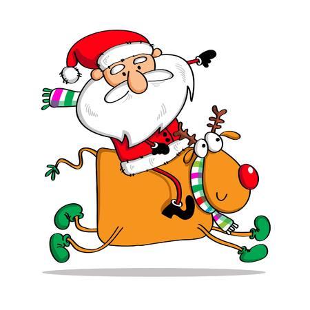 santaclause: deer and santaclause Illustration