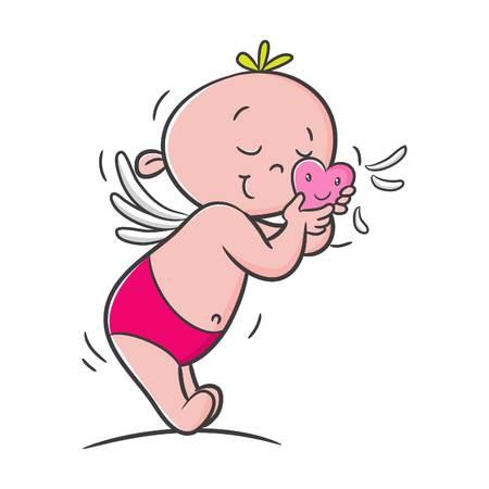 doodle cupid cartoon vector, character design, happy valentine's day Illustration