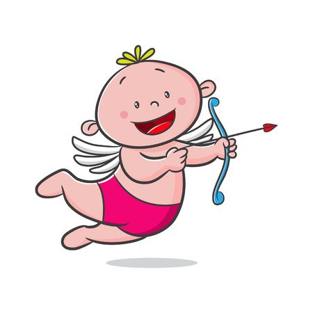 doodle cupid cartoon vector, character design, happy valentine's day Archivio Fotografico - 117532596