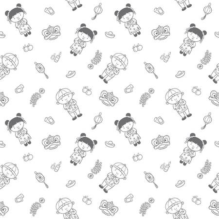 doodle pattern happy chinese new year with cartoon illustration, greeting card, chinese character is mean lucrative