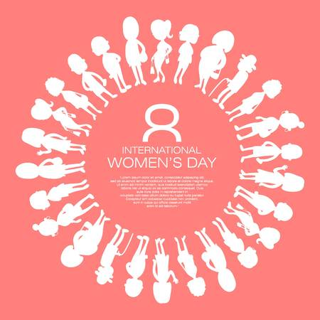 greeting card happy international womans day with silhouette of womans vector, poster or banner design Stock Illustratie