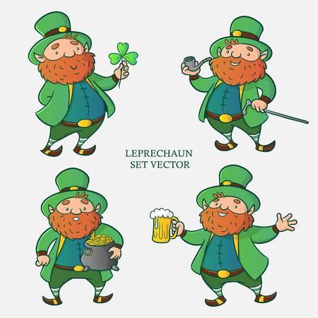 Leprechaun set vettoriale, personaggio dei cartoni animati, illustrazione per il felice giorno di san patrizio