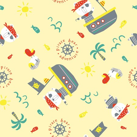 pirate bear cartoon vector, pattern illustration for baby or kids