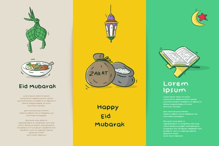 set greeting card happy eid mubarak with muslim cartoon element