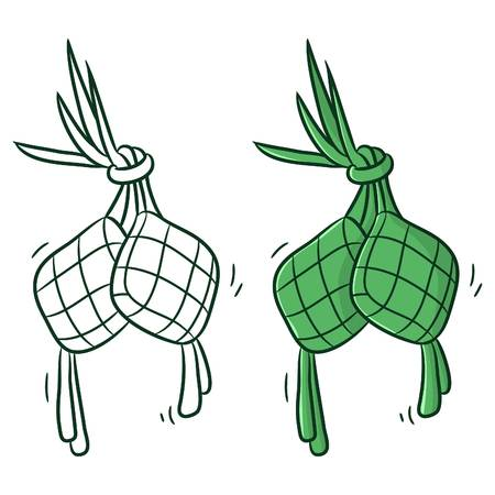 ketupat or traditional food, coloring vector