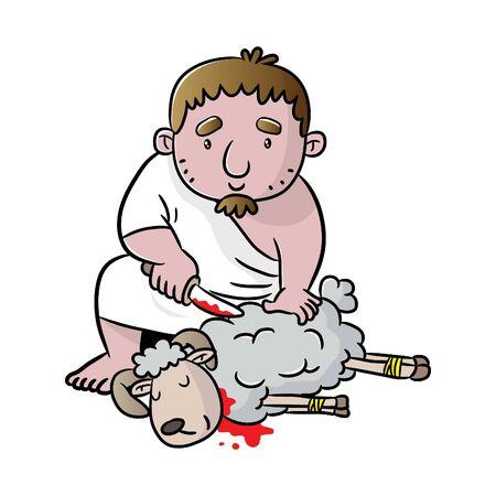 ritual Hajj and involves animal sacrifice as a symbol of Ibrahim's sacrifice to Allah. Vector cartoon illustration