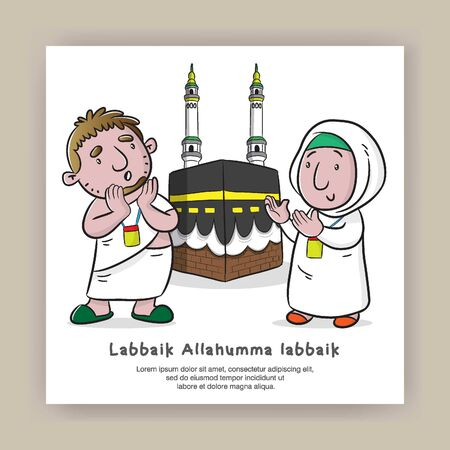 hajj and umrah greeting card with cartoon illustration vector, labbaikallohumma labbaik is mean I am at Your service, O Allah, I am at Your service Çizim