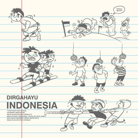 dirgahayu or celebration indonesia independence day, traditional game vector