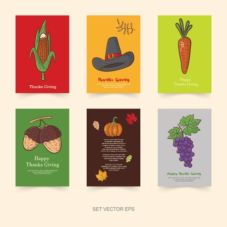thanks giving set vector, cartoon illustration, agricultural product, poster design