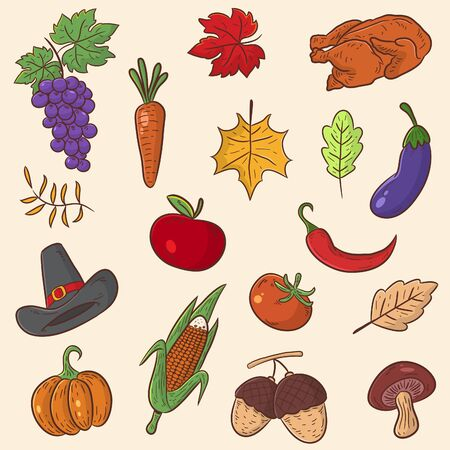 thanks giving set vector, cartoon illustration, agricultural product Иллюстрация