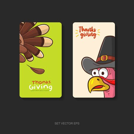 two side poster or card design thanks giving day with turkey cartoon vector