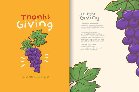 poster or banner design happy thanks giving, grape cartoon vector Иллюстрация