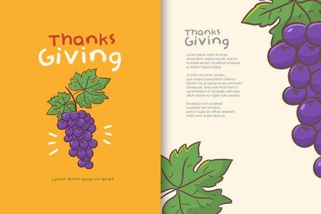poster or banner design happy thanks giving, grape cartoon vector Illustration
